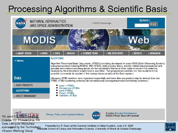 Processing Algorithms & Scientific Basis 7 th Joint ESDSWG meeting, October 22, Philadelphia, PA