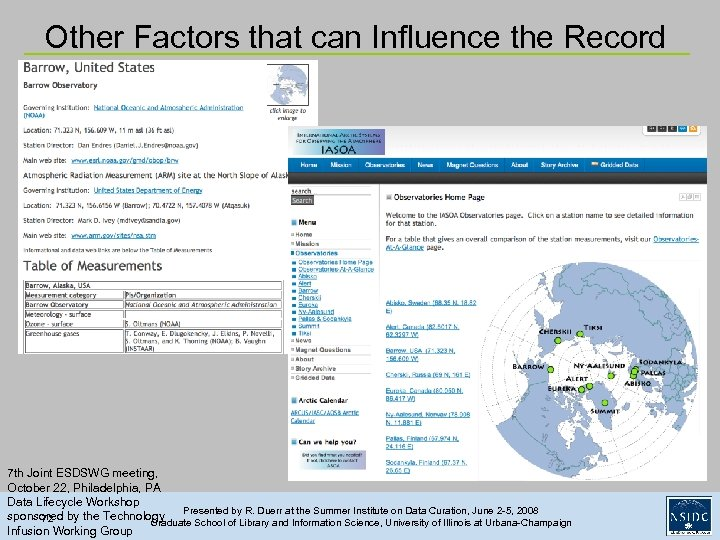 Other Factors that can Influence the Record 7 th Joint ESDSWG meeting, October 22,