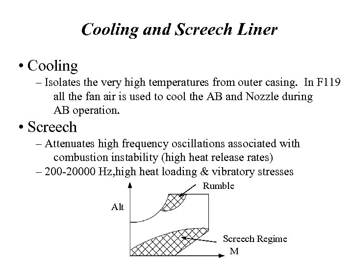Cooling and Screech Liner • Cooling – Isolates the very high temperatures from outer