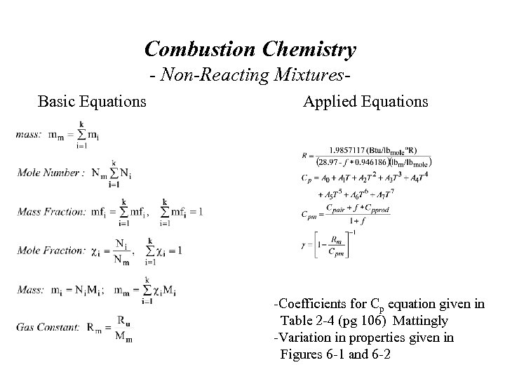 Combustion Chemistry - Non-Reacting Mixtures. Basic Equations Applied Equations -Coefficients for Cp equation given