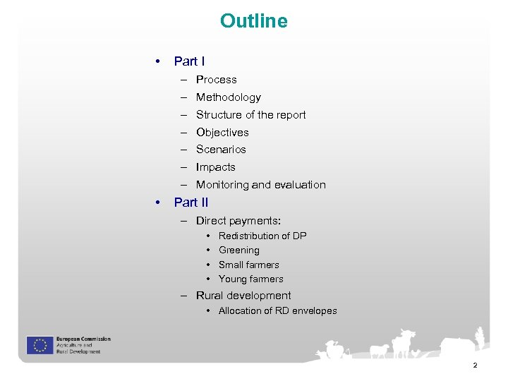 Outline • Part I – Process – Methodology – Structure of the report –