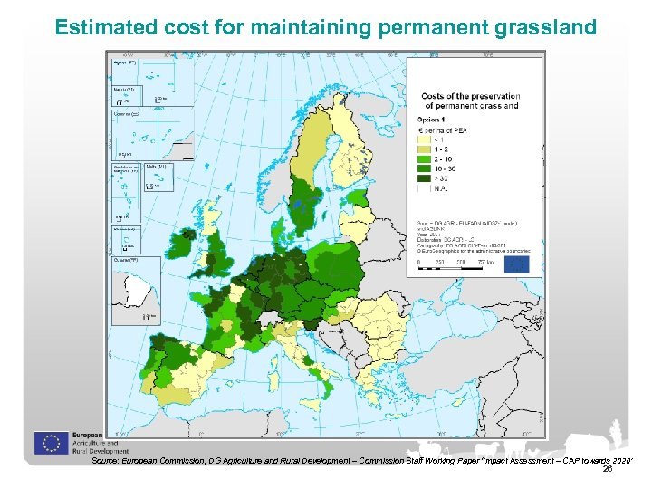 Estimated cost for maintaining permanent grassland Source: European Commission, DG Agriculture and Rural Development