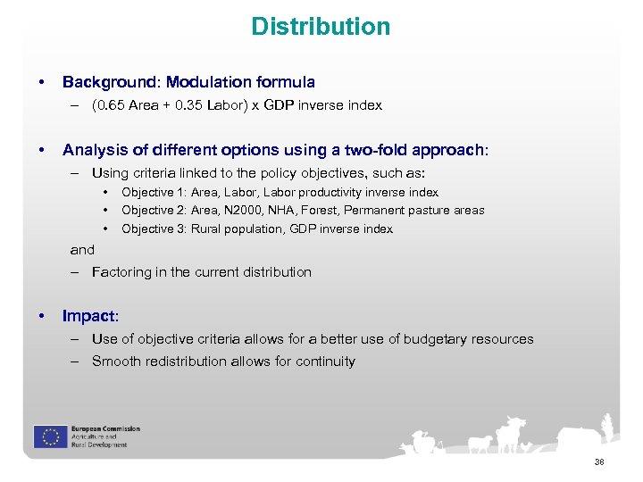 Distribution • Background: Modulation formula – (0. 65 Area + 0. 35 Labor) x
