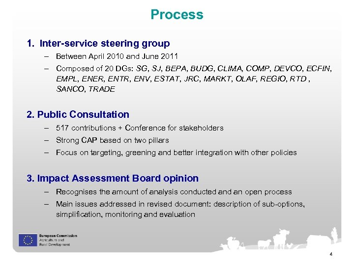Process 1. Inter-service steering group – Between April 2010 and June 2011 – Composed