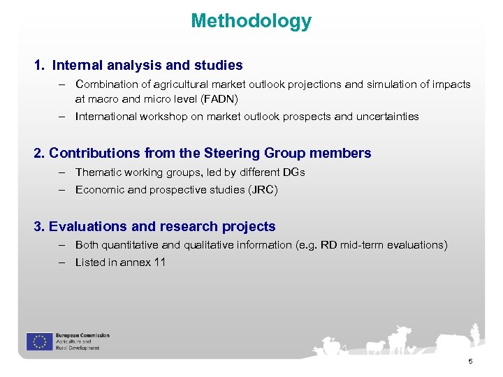 Methodology 1. Internal analysis and studies – Combination of agricultural market outlook projections and