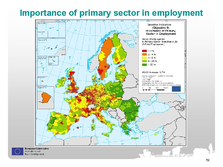 Importance of primary sector in employment 52