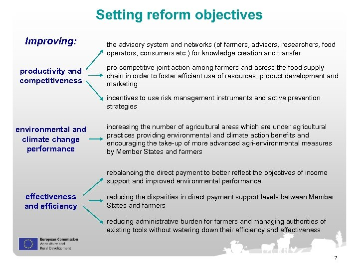 Setting reform objectives Improving: productivity and competitiveness the advisory system and networks (of farmers,