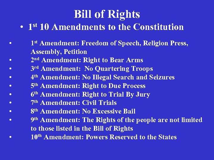 Bill of Rights • 1 st 10 Amendments to the Constitution • • •