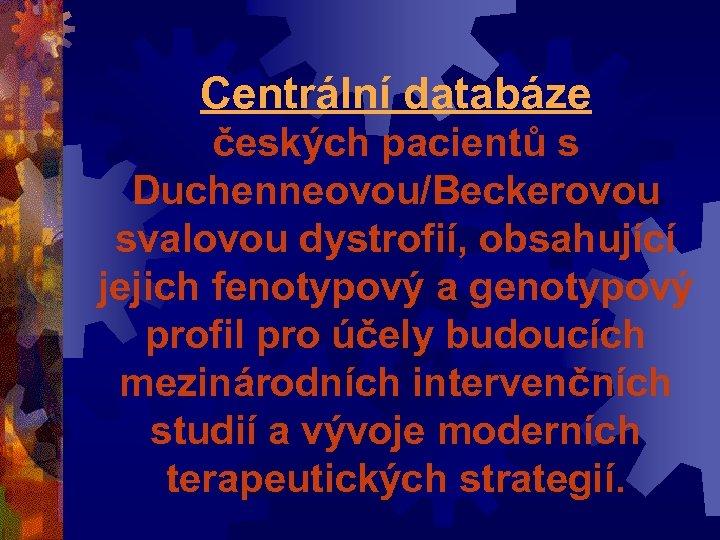 Centrální databáze českých pacientů s Duchenneovou/Beckerovou svalovou dystrofií, obsahující jejich fenotypový a genotypový profil