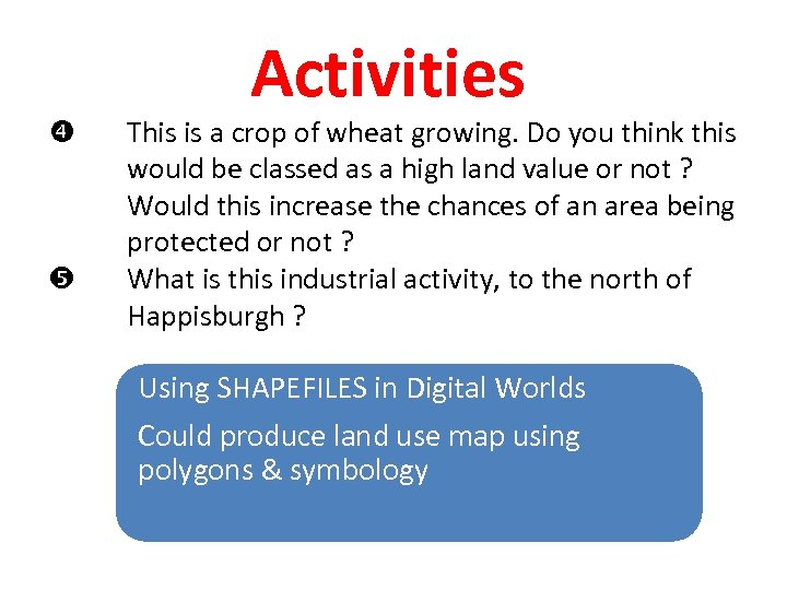 Activities This is a crop of wheat growing. Do you think this would