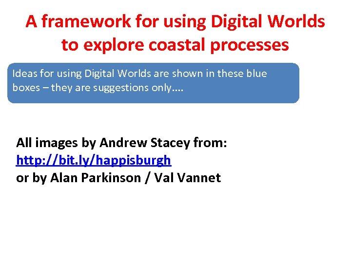 A framework for using Digital Worlds to explore coastal processes Ideas for using Digital