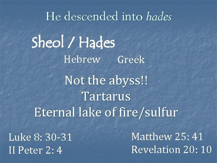 He descended into hades Sheol / Hades Hebrew Greek Not the abyss!! Tartarus Eternal
