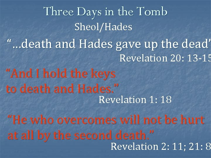 """Three Days in the Tomb Sheol/Hades """"…death and Hades gave up the dead"""" Revelation"""