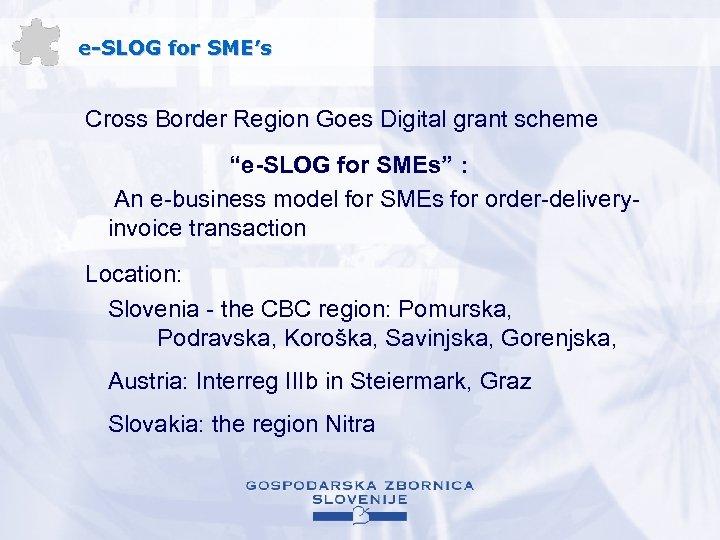"""e-SLOG for SME's Cross Border Region Goes Digital grant scheme """"e-SLOG for SMEs"""" :"""