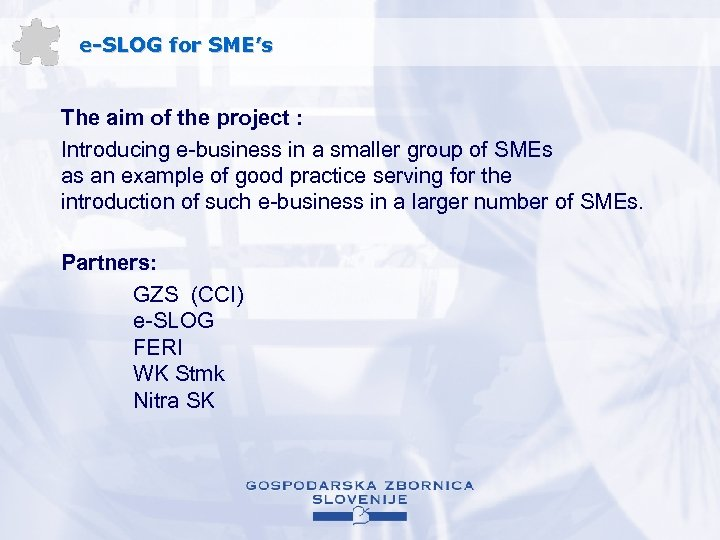 e-SLOG for SME's The aim of the project : Introducing e-business in a smaller