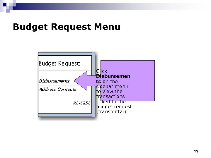 Budget Request Menu Click Disbursemen ts on the sidebar menu to view the transactions