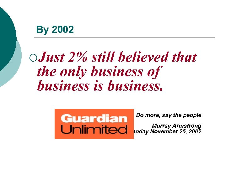 By 2002 ¡Just 2% still believed that the only business of business is business.