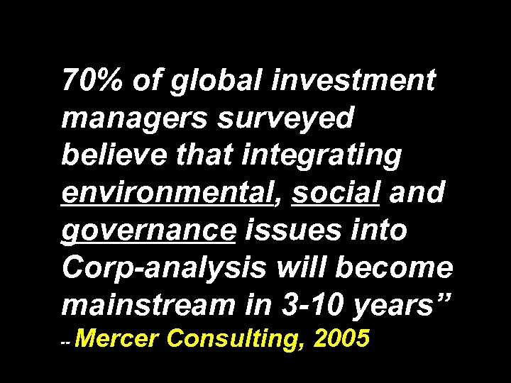 """"""" 70% of global investment managers surveyed believe that integrating environmental, social and governance"""