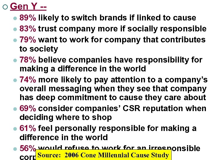 ¡ Gen Y -- 89% likely to switch brands if linked to cause l