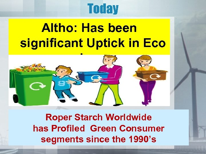 Today Altho: Has been significant Uptick in Eco - consciousness … Roper Starch Worldwide