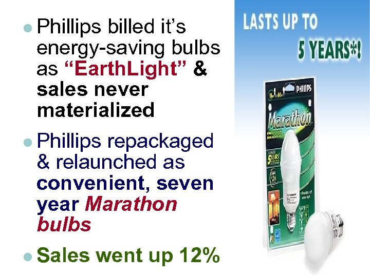 """l Phillips billed it's energy-saving bulbs as """"Earth. Light"""" & sales never materialized l"""