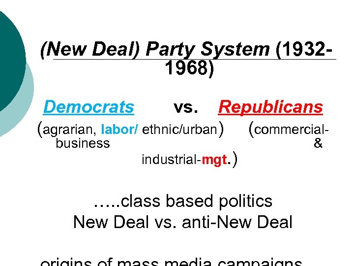 (New Deal) Party System (19321968) Democrats Republicans (agrarian, labor/ ethnic/urban) (commercialbusiness vs. industrial-mgt. )