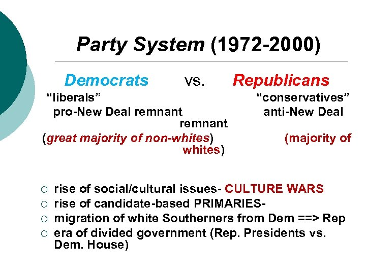 """Party System (1972 -2000) Democrats vs. """"liberals"""" pro-New Deal remnant (great majority of non-whites)"""