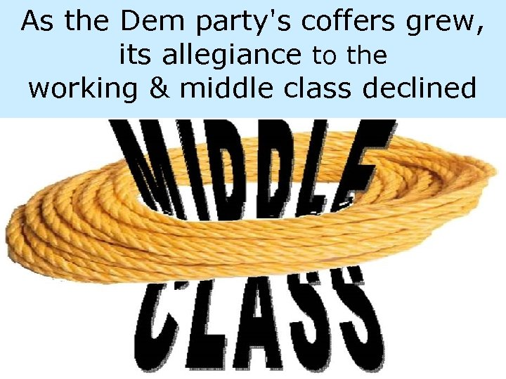 As the Dem party's coffers grew, its allegiance to the working & middle class