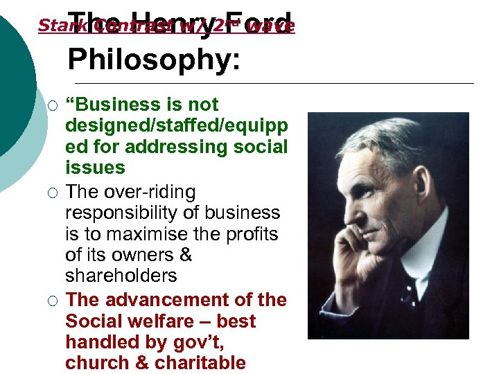 """The Henry Ford Philosophy: Stark Contrast w/ 2 nd wave ¡ ¡ ¡ """"Business"""