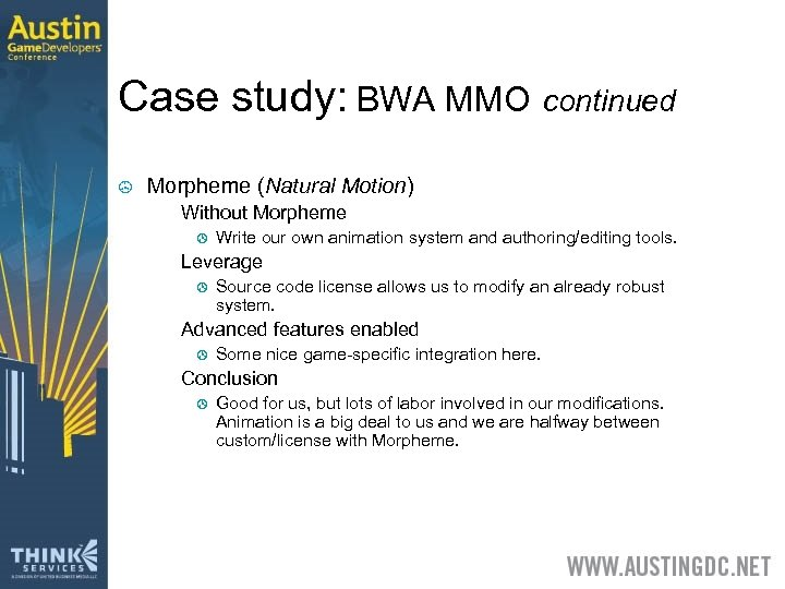 Case study: BWA MMO continued > Morpheme (Natural Motion) > Without Morpheme > >