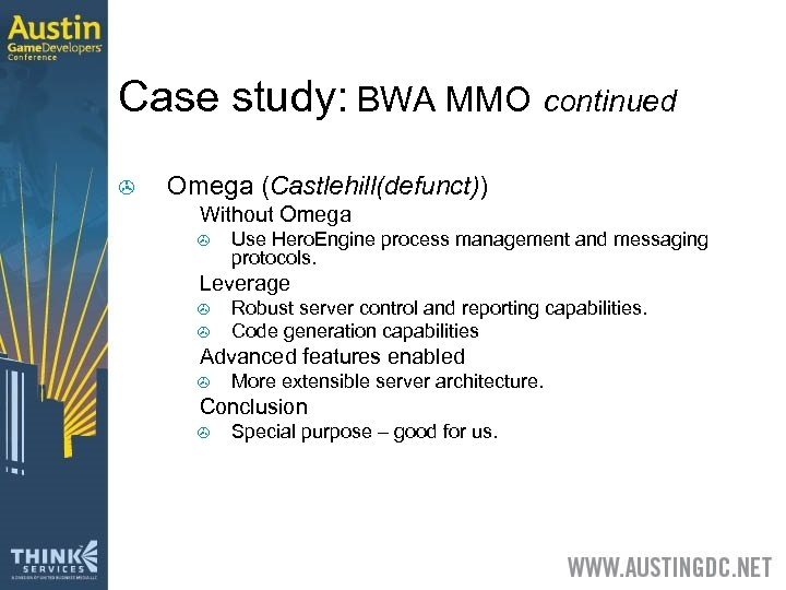 Case study: BWA MMO continued > Omega (Castlehill(defunct)) > Without Omega > > Leverage