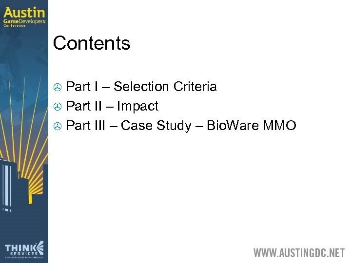Contents Part I – Selection Criteria > Part II – Impact > Part III