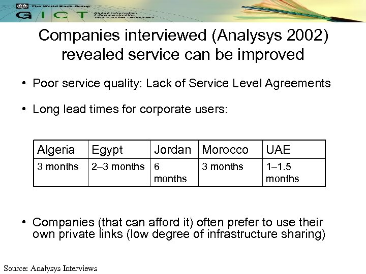 Companies interviewed (Analysys 2002) revealed service can be improved • Poor service quality: Lack