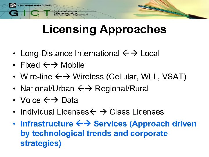 Licensing Approaches • • Long-Distance International Local Fixed Mobile Wire-line Wireless (Cellular, WLL, VSAT)