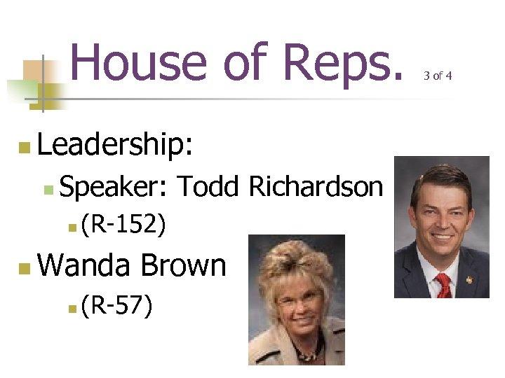 House of Reps. n Leadership: n Speaker: Todd Richardson n n (R-152) Wanda Brown