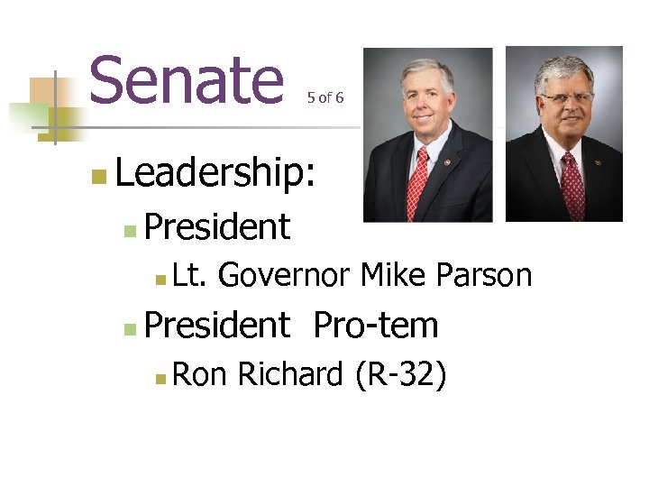 Senate n 5 of 6 Leadership: n President n n Lt. Governor Mike Parson