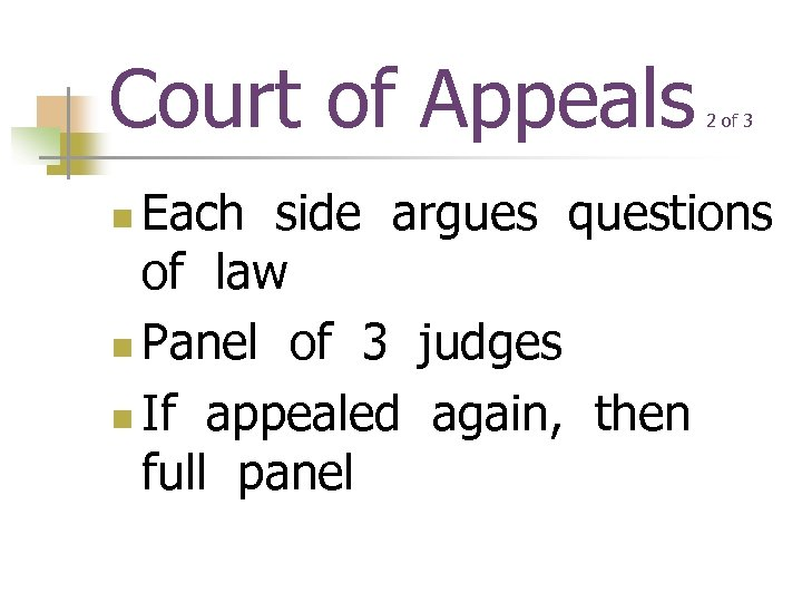 Court of Appeals 2 of 3 Each side argues questions of law n Panel