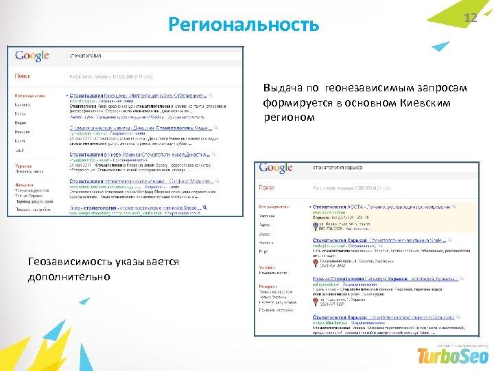 Региональность 12 Выдача по геонезависимым запросам формируется в основном Киевским регионом Геозависимость указывается дополнительно