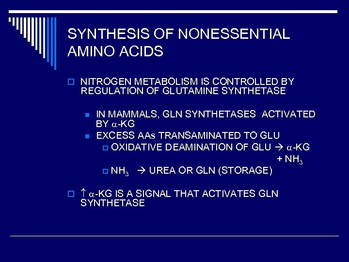 SYNTHESIS OF NONESSENTIAL AMINO ACIDS o NITROGEN METABOLISM IS CONTROLLED BY REGULATION OF GLUTAMINE