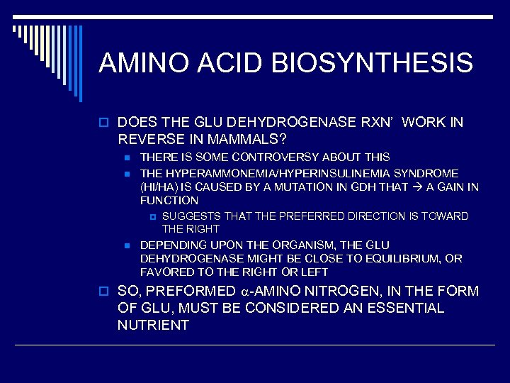 AMINO ACID BIOSYNTHESIS o DOES THE GLU DEHYDROGENASE RXN' WORK IN REVERSE IN MAMMALS?