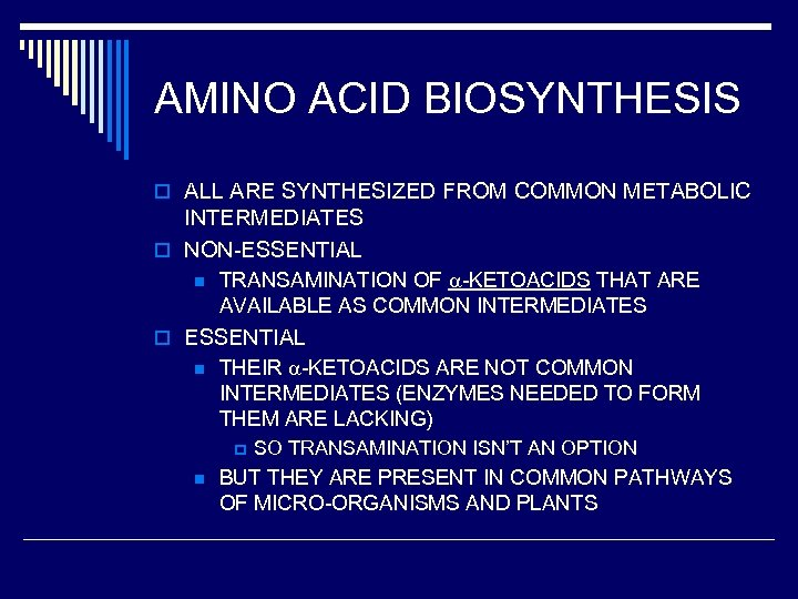 AMINO ACID BIOSYNTHESIS o ALL ARE SYNTHESIZED FROM COMMON METABOLIC INTERMEDIATES o NON-ESSENTIAL n