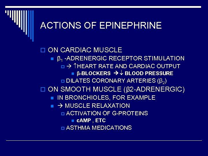 ACTIONS OF EPINEPHRINE o ON CARDIAC MUSCLE n β 1 -ADRENERGIC RECEPTOR STIMULATION p