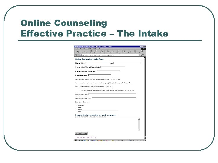 Online Counseling Effective Practice – The Intake