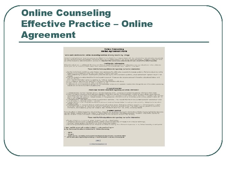 Online Counseling Effective Practice – Online Agreement