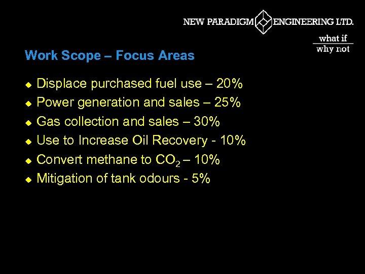 Work Scope – Focus Areas u u u Displace purchased fuel use – 20%