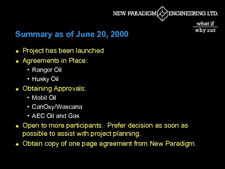 Summary as of June 20, 2000 u u Project has been launched Agreements in