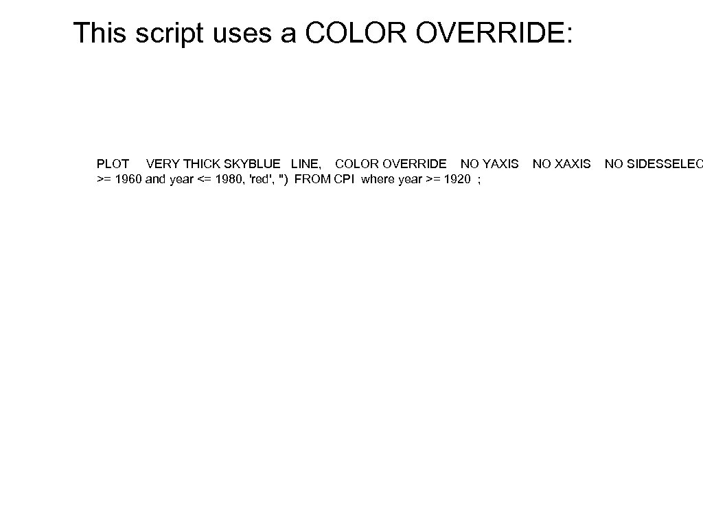 This script uses a COLOR OVERRIDE: PLOT VERY THICK SKYBLUE LINE, COLOR OVERRIDE NO