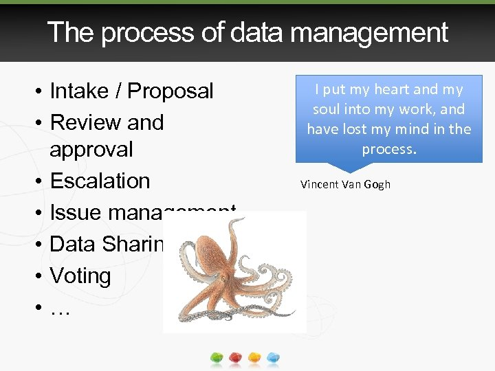The process of data management • Intake / Proposal • Review and approval •