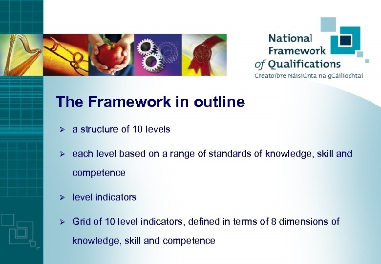 The Framework in outline Ø a structure of 10 levels Ø each level based