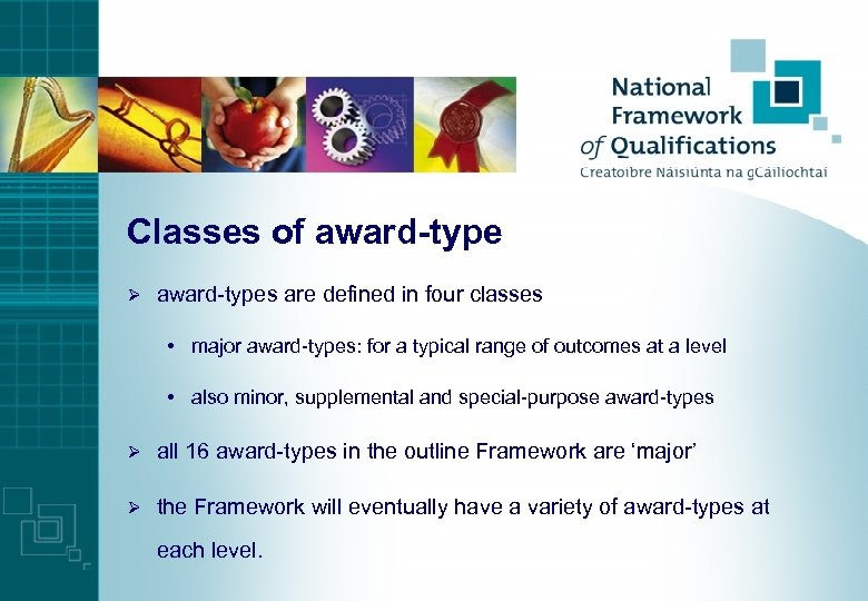 Classes of award-type Ø award-types are defined in four classes • major award-types: for